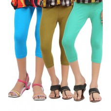Deals, Discounts & Offers on Women Clothing - Greenwich Multicolour Capri For Girls-Set Of 3