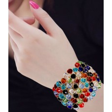 Deals, Discounts & Offers on Women - Renaissance Traders Alloy Gold Plating Crystal Studded Multi Coloured Bracelet