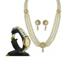 Deals, Discounts & Offers on Women - Classique Designer Jewellery Golden Finish Pearl Necklace Set With Wrist Watch