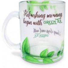 Deals, Discounts & Offers on Home Appliances - Hot Muggs Refreshing Mornings Green Tea Glass Mug