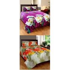 Deals, Discounts & Offers on Furniture - Home Castle 3d Printed Super Soft Two Double Bedsheet With 4 Pillow Covers