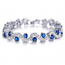 Deals, Discounts & Offers on Women - Yellow Chimes Rich Royal Blue Crystal High Grade Cz Chain Bracelet