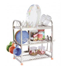Deals, Discounts & Offers on Home & Kitchen - Amol Silver Stainless Steel 3 Rack Kitchen Stand