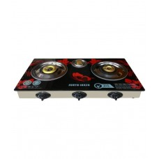 Deals, Discounts & Offers on Home & Kitchen - Surya Crystal 3 Burners Automatic Glass Top Gas Cooktop