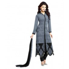 Deals, Discounts & Offers on Women Clothing - Dhruva Fab Grey Georgette A-Line Semi Stitched Suit