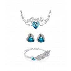Deals, Discounts & Offers on Women - Youbella Alloy Silver Plating Crystal Studded Silver Coloured Pendant set