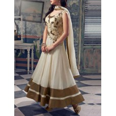 Deals, Discounts & Offers on Women Clothing - Ethnic basket off white georgette embroidered semi stitched suit set