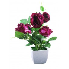 Deals, Discounts & Offers on Home Decor & Festive Needs - Magenta artificial roses in white ceramic pot