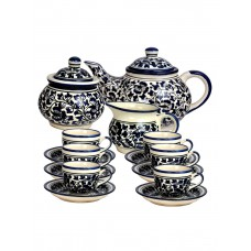 Deals, Discounts & Offers on Home Appliances - Flat 25% off on Blue pottery tea set of 6 cups, teapot, milk creamer and sugar bowl