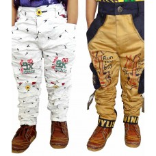 Deals, Discounts & Offers on Baby & Kids - AD & AV Multi Color Cotton Blend Cargos- Pack of 2