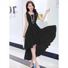 Deals, Discounts & Offers on Women Clothing - Westrobe Black Plain Western Dress