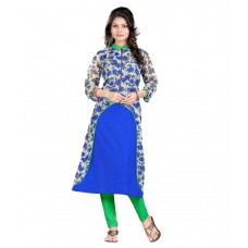 Deals, Discounts & Offers on Women Clothing - Aashvi Creation Blue Poly Rayon Kurti