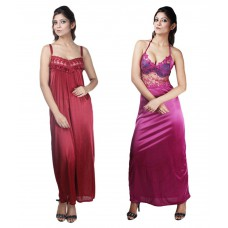 Deals, Discounts & Offers on Women Clothing - Boosah Multi Color Satin Nighty & Night Gowns Pack of 2