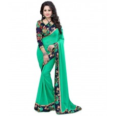 Deals, Discounts & Offers on Women Clothing - Shreeji Designer Turquoise Georgette Saree