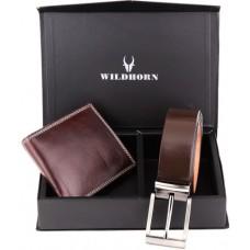 Deals, Discounts & Offers on Accessories - WildHorn Brown Combo Gift Set of Wallet and Belt