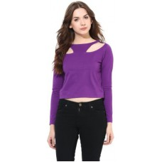 Deals, Discounts & Offers on Women Clothing - Miss Chase Party Full Sleeve Solid Women's Purple Top