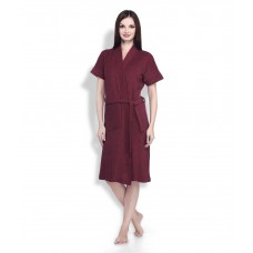 Deals, Discounts & Offers on Women - Sand Dune Knitted Maroon Terry Bathrobe