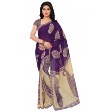 Deals, Discounts & Offers on Women Clothing - Graceful Purple Colored Printed Faux Georgette Saree