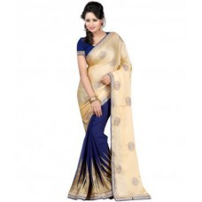 Deals, Discounts & Offers on Women Clothing - Laxmi Sarees Satin Blue Saree