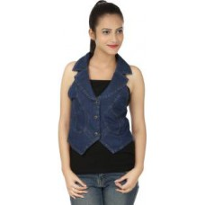 Deals, Discounts & Offers on Women Clothing - Clo Clu Sleeveless Solid  Jacket Denim