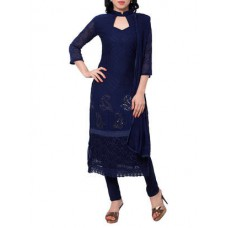 Deals, Discounts & Offers on Women Clothing - Navy blue embroidered semi stitched suit set