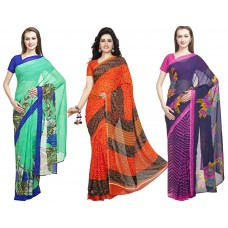 Deals, Discounts & Offers on Women Clothing - Flat 67% off on DivyaEmporio  Faux Georgette Saree