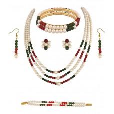 Deals, Discounts & Offers on Women - Classique Designer Jewellery  Pearl Necklace Set