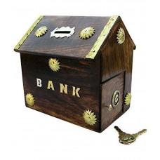 Deals, Discounts & Offers on Home Decor & Festive Needs - Clickflip brown Wooden Piggy Bank