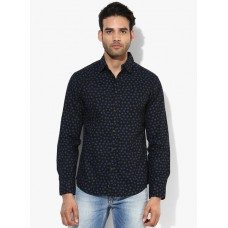 Deals, Discounts & Offers on Men Clothing - Flat 60% off on Black Printed Slim Fit Casual Shirt