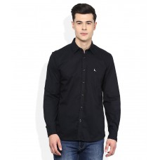 Deals, Discounts & Offers on Men Clothing - Parx Black Solid Slim Fit Casual Shirt