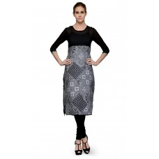 Deals, Discounts & Offers on Women Clothing - Indi Dori polyesterBlack Solid Yoke Tribal Print Kurti