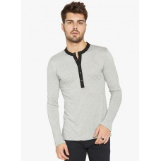 Deals, Discounts & Offers on Men Clothing - Flat 65% off on Globus Grey Solid Henley T-Shirt