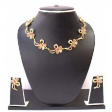 Deals, Discounts & Offers on Women - Zaveri Pearls PinkGolden Alloy Gold Plated Necklace Set