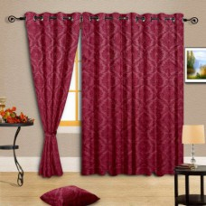 Deals, Discounts & Offers on Home Appliances - Cortina Maroon Embossed Eyelet Curtain