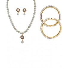 Deals, Discounts & Offers on Women - Classique Designer Jewellery White Necklace Set