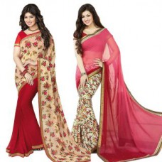 Deals, Discounts & Offers on Women Clothing - Upto 76% off on Janasya Ayesha Takia Bollywood Georgette Floral Printed Saree