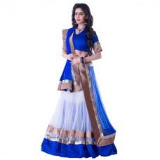 Deals, Discounts & Offers on Women Clothing - Upto 89% off on Janasya Blue,White Zari Embroidery Net