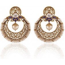 Deals, Discounts & Offers on Women - Rich Lady Alluring Blue Gold Plated Jewellery Alloy Chandbali Earring