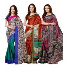 Deals, Discounts & Offers on Women Clothing - Upto 64% off on Vibhaa Printed 3  Taffeta Saree Combo Without Blouse