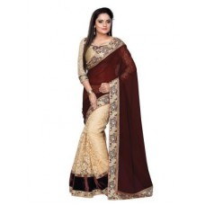 Deals, Discounts & Offers on Women Clothing - Tryngets Brown Fancy Designer Georgette Net Saree