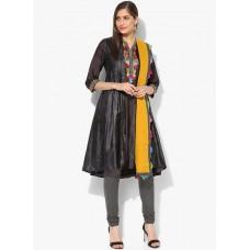 Deals, Discounts & Offers on Women Clothing - Dark Grey Embroidered Salwar Kameez Dupatta