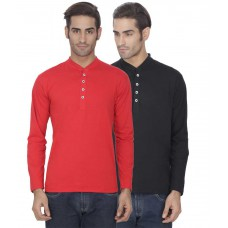 Deals, Discounts & Offers on Men Clothing - Upto 59% off on Esoul Solid  Red & Black Henley Tshirt