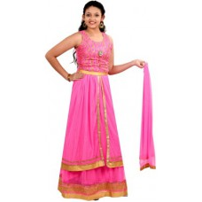 Deals, Discounts & Offers on Women Clothing - Saarah Self Design Lehenga, Choli and Dupatta Set