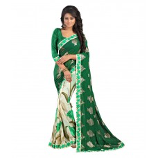 Deals, Discounts & Offers on Women Clothing - Bluebird Impex Green Georgette Saree