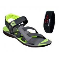 Deals, Discounts & Offers on Men - Jollify Green Sandal With Free Digital Watch