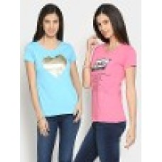 Deals, Discounts & Offers on Women Clothing - Style Quotient  Blue & Pink Pack of 2 Regular Fit T-shirts