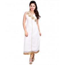 Deals, Discounts & Offers on Women Clothing - Resham Dori Creations White Georgette Straight Kurti