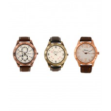 Deals, Discounts & Offers on Men - Timebre Combo Of 3 Leather Analog Watch