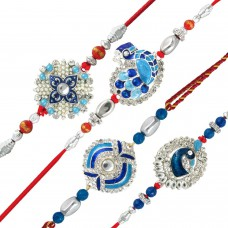 Deals, Discounts & Offers on Home Decor & Festive Needs - Mahi Combo of Peacock Four Rakhis