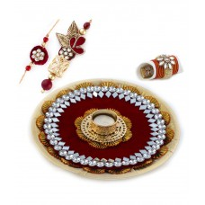 Deals, Discounts & Offers on Home Decor & Festive Needs - Aapno Rajasthan Deep Maroon Hues Rakhi Pooja Thali with Set of Bhaiya Bhabhi Rakhis
